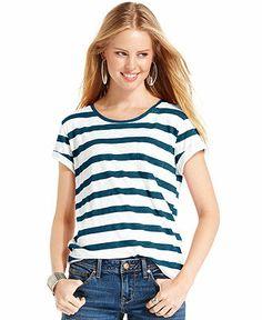 American Rag Top, Short Sleeve Striped Tee Jean Outfits, Dress Outfits, Dresses, Hip Hip, American Rag, Junior Outfits, Jeans Dress, Striped Tee, V Neck