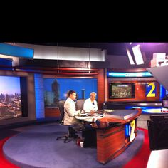 Monica Pearson and Justin Farmer on Channel 2 News set!