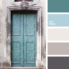 Great room palette Pastel shades of blue and brown colours with a gray tint are harmoniously supplemented by flax and anthracite shades. Celadon brings a special depth to the. Paint Schemes, Colour Schemes, Colour Combinations Interior, Color Schemes With Gray, Rustic Color Schemes, Color Combos, Palette Design, Cool Colour Palette, Color Palette Gray