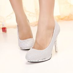 Fashion Rivets Embellished Round Closed Toe Stiletto High Heel Silver Pumps 18.99