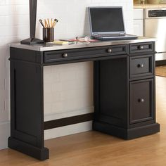 Have to have it. Home Styles Traditions Black Utility Desk with Stainless Steel Top $505.99