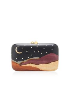 Desert Moon and Stars Embellished Wood Clutch by SILVIA FURMANOVICH Now Available on Moda Operandi