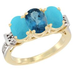 14K Yellow Gold Natural London Blue Topaz and Turquoise Sides Ring 3-Stone Oval Diamond Accent, sizes 5 - 10 * Wow! I love this. Check it out now! : Jewelry Ring Bands