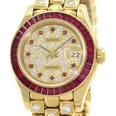 Pre-owned Rolex Datejust 69308 18K Yellow Gold Ruby Bezel & Diamond... ($46,500) ❤ liked on Polyvore featuring jewelry, watches, diamond bezel watches, yellow dial watches, pre owned watches, 18k watches and gold watches
