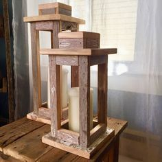 Lanterns made of reclaimed wood