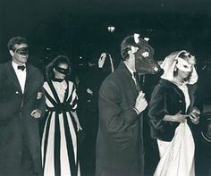 "Revelers arriving at Truman Capote's ""Black and White"" Ball"