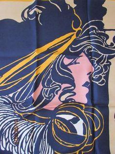 RARE Vintage Art Nouveau Woman Lady Silk Scarf by Jacqmar Paris Blue Orange | eBay