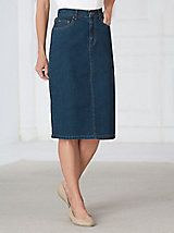 Skirt has five pockets, belt loops, zipper fly, back V-yoke and elastic waist insets in the back. Modest Outfits, Modest Fashion, Casual Outfits, Fashion Outfits, Apostolic Fashion, Fashion Clothes, Fall Outfits, Denim Skirt Outfits, Denim Outfit
