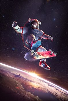 Skateboarding in space