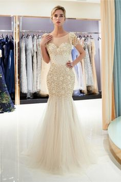 Sexy See Through Top Prom Dresses with Sweep Train Exquisite Pearls Beading Gold Evening Dresses Elegant Zipper Up Long Evening Gown Cheap Mermaid Prom Dresses, Prom Dresses For Sale, Prom Party Dresses, Prom Gowns, Hoco Dresses, Graduation Dresses, Formal Dresses, Occasion Dresses, Gold Evening Dresses