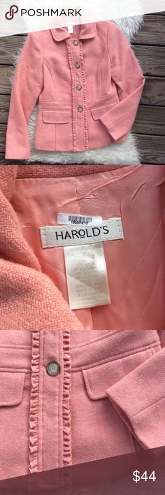 """Harold's Pink Wool Mohair Ruffle Coat Excellent condition Harold's pink wool Ruffle coat. Size 6. 70% wool, 15% polyamide, 10% Mohair, 5% acrylic. Fully lined in acetate. Shoulder seam to shoulder seam across the back 15"""", bust 36"""", waist 32"""", length 22.5"""", sleeve length 24"""". No trades, offers welcome. Harold's Jackets & Coats"""