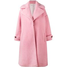 Olympia Le-Tan contrast button coat (14731855 PYG) ❤ liked on Polyvore featuring outerwear, coats, pink, wool coat, oversized coat, faux wool coat, pink oversized coat and faux coat