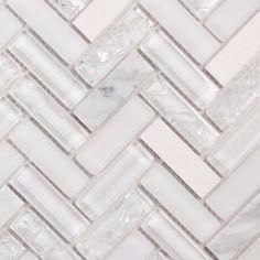 And frosted glass herringbone backsplash tile cracked glass mosaic tile whi Glass Backsplash Kitchen, Mosaic Backsplash, Glass Mosaic Tiles, Backsplash Ideas, White Mosaic Tiles, Travertine Backsplash, Beadboard Backsplash, Bathroom Countertops, Wood Countertops
