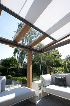 This amazing photo is certainly a formidable style technique. Awning Gazebo, Pergola Patio, Pergola Plans, Backyard, Outdoor Living Rooms, Outdoor Spaces, Terrace Design, Garden Design, Modern Gazebo