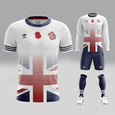 This would be a great kit only for Great Britain's Olympic football squad, because there is no Great Britain side in any other international football competition. Sport Shirt Design, Sports Jersey Design, Sport T Shirt, Olympic Football, Madrid Football, Custom Football, Football Design, Football Shirt Designs, Soccer Kits