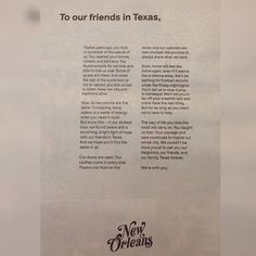 This letter from to in the wake of demonstrates the best of humanity and the soul of the United States. Read to have your faith restored. D School, Texas Forever, New Orleans, United States, Faith, Lettering, Feelings, Reading, Instagram