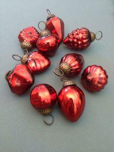10 Mini Red Glass Baubles, Vintage Metallic Kugel Style Christmas Decorations | eBay