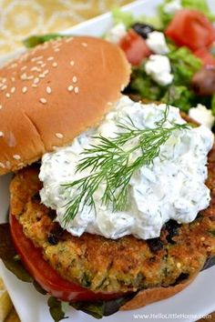 Greek Veggie Burgers with Cucumber Feta Sauce ... serve these amazing vegetarian burgers with a simple salad for a delicious meal that your whole family will love! Hello Little Home