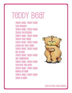 songs-preschool song teddy bear, Learn to sing other songs. Produce rhythmic patterns to familiar songs(e. Bears Preschool, Preschool Music, Preschool Curriculum, Preschool Lessons, Preschool Learning, Toddler Preschool, Preschool Activities, Preschool Class, Teaching