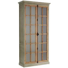 """Originating in 19th century Europe, the """"Cremone bolt"""" is a traditional casement-window locking device with a latch/handle mechanism. Featured on all our hand-hewn Cremone cabinetry, it's as beautiful as it is functional. Also featured: Soft gray wood frames with protracted crown molding, contrasting natural wood casements and tempered pane-glass windows. Over 8' tall, our cabinet houses five adjustable shelves."""