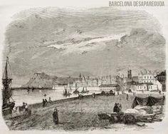 """Vistes des del port. Xilografia Barcelona publicada en la revista francesa """"Le Magasin pittoresque"""", Paris, 1842.  Publicat per Giacomo Alessandro."""