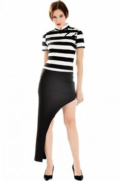 Iconic Black White Stripe Print Asymmetrical Dress - OASAP.com