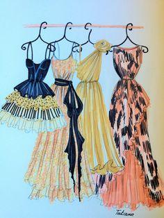 ORIGINAL Fashion Illustration-My Dresses by loveillustration on Etsy https://www.etsy.com/listing/209201576/original-fashion-illustration-my-dresses