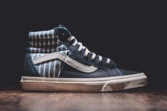 """Released aspart of Vans' Spring 2015 California Collection comesthe Vans Sk8-Hi 46 CA """"Dress Blues."""" The sneakeris made withpremium full grain leather that sports a dark, rich navy tone on the vam..."""