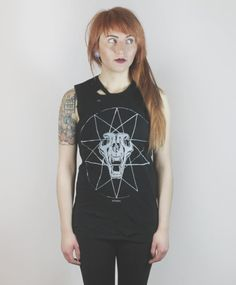 The Destroyed Muscle tank Cat Skull by SOVRIN on Etsy