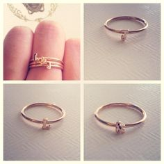 Cute stackable alphabet rings, handmade in solid 14ct Gold, choose between Yellow, Rose or White! Mix