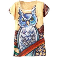 Yellow 3D Owl Printed Casual Loose Ladies Chic T Shirt ($6.39) ❤ liked on Polyvore featuring tops, t-shirts, yellow, yellow top, owl t shirt, loose fit t shirts, yellow t shirt and loose tops