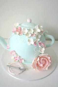 Vintage, high tea, kitchen tea, bridal shower, teapot cake by Sharon