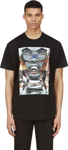 Givenchy Black Curved Hem Photoprint T-Shirt