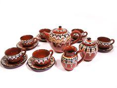 Vintage Bulgarian Troyan Redware Tea Set 17 by SproutVintage, $125.00