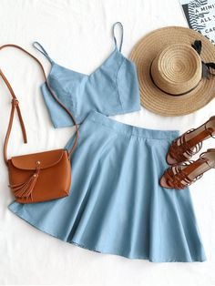 Shop for Smocked Crop Cami Top and Skirt Set LIGHT BLUE: Two-Piece Outfits S at ZAFUL. Only $21.99 and free shipping!