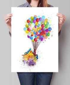 Up movie, Pixar up, Disney Watercolor Art, Disney Pixar Up Flying House, Nursery Watercolor Art, Wall Art Print, Kids wall art (285)