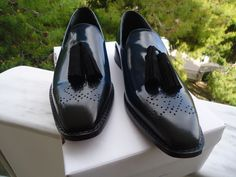 Handmade Blue black calf premium  leather patina tassel loafers by Konstantinos  S/S15 collection