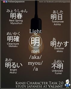 Words with the character for light. -- Japan, Japanese words, vocabulary, learning different languages, infographic, kanji