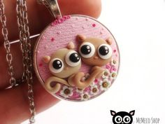 """Polymer Clay Pendant Necklace Cat  """"Made for each other!"""" by MemecoShop"""