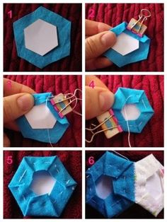 An English Paper Piecing Project for Beginners by Make It Thrifty. Learn how to make a hexagon using this hand sewing patchwork technique. Easy and portable.