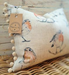 Handmade Robin Cushion, Pompom Trim, Clarke & Clarke Linen, British Wildlife, Birds, Country Style, Neutral Decor