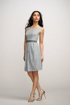 Love this style of bridesmaid dress with gray lace and a Windsor or slate blue underneath