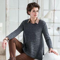 Un pull signé Ann Mc Cauley, à tricoter dans un fil fingering, avec des aiguilles 3,5mm. Une jolie forme légèrement en A. Extrait de la collection Wool People 7 de Brooklyn Tweed.