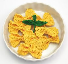 Farfalle crocheted food pasta plus basil by Spindleyarn on Etsy, $6.25