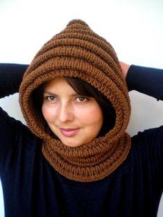 Nuss braun Wave Chunky Knit Hood weichen gemischten wolle Frau Kapuzen Schal Cowl Herbst Winter Accesories neue