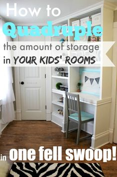 Creating extra storage in kids' rooms and making them feel so much bigger! Love this!