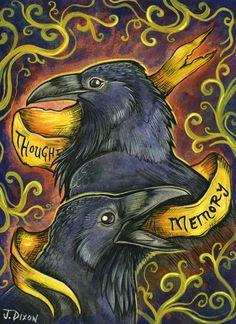 Beautiful Piece called Huginn and Muninn by Corvidesque http://corvidesque.deviantart.com/