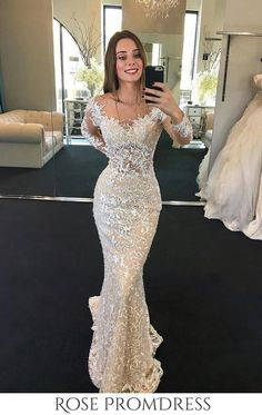 2019 Scoop Long Sleeves Lace Wedding Dresses With Beads Sweep Train, SJS, This dress could be custom made, there are no extra cost to do custom size and color. Popular Dresses, Nice Dresses, Girls Dresses, Flower Girl Dresses, Prom Dresses, Long Sleeve Wedding, Lace Wedding, Mermaid Wedding, Dream Wedding Dresses