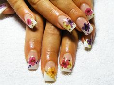 """flowers n gems french manicure"""