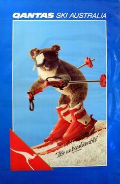 Ski Australia Qantas, 1980s - original poster listed on AntikBar.co.uk